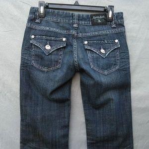 Rock & Roll Cowgirl Boot Cut Jeans Dark Distressed